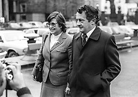 Fianna Fail TD Des O'Malley, accompanied by his wife, Patricia O'Malley arriving Leinster House December 1982 at the start of a new parliament following the previous month's Rep of Ireland General Election. 198212000282DOM1.<br /> <br /> Copyright Image from Victor Patterson, 54 Dorchester Park, <br /> Belfast, UK, BT9 6RJ<br /> <br /> t1: +44 28 9066 1296 (from Rep of Ireland 048 9066 1296)<br /> t2: +44 28 9002 2446 (from Rep of Ireland 048 9002 2446)<br /> m: +44 7802 353836<br /> <br /> victorpatterson@me.com<br /> www.victorpatterson.com<br /> <br /> Please see my Terms and Conditions of Use at VICTORPATTERSON.COM. It is IMPORTANT that you familiarise yourself with them.<br /> <br /> Images used on the Internet must be visibly watermarked i.e. &copy;VICTORPATTERSON.COM within the body of the image and copyright metadata must not be deleted. Images used on the Internet have a size restriction of 4kbs and are chargeable at the then current NUJ rates.<br /> <br /> This image is only available for the use of the download recipient i.e. television station, newspaper, magazine, book publisher, etc, and must not be passed on to any third party. It is also downloaded on condition that each and every usage is notified within 7 days to victorpatterson@me.com<br /> <br /> The right of Victor Patterson to be identified as the author is asserted in accordance with The Copyright Designs And Patents Act (1988).