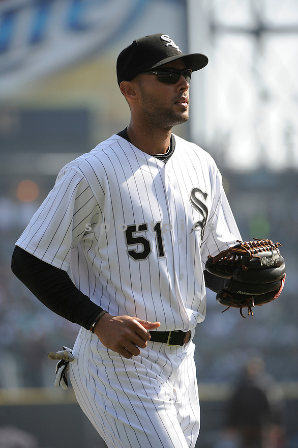 ALEX RIOS, of the Chicago White Sox , in actions during the White Sox game against the Tampa Bay Rays  at US Cellular Field on April 9, 2011.  The Chicago White Sox won the game beating the Tampa Bay Rays 4-2.