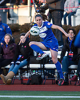In a National Women's Soccer League Elite (NWSL) match, the Boston Breakers and  Washington Spirit drew 1-1, at the Dilboy Stadium on April 14, 2012.  Boston Breakers midfielder Heather O'Reilly (9) controls the ball.