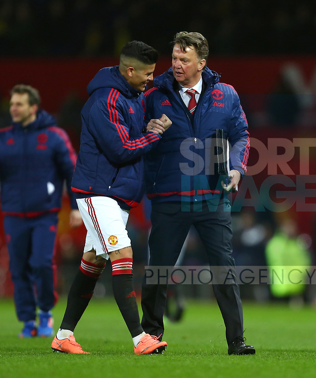 Louis Van Gaal, manager of Manchester United congratulates Marcos Rojo - Barclay's Premier League - Manchester United vs Watford - Old Trafford - Manchester - 02/03/2016 Pic Philip Oldham/SportImage