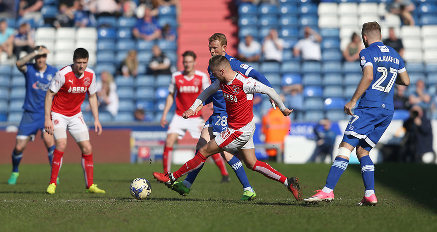 Fleetwood Town's David Ball and Oldham Athletic's Paul Green<br /> <br /> Photographer Stephen White/CameraSport<br /> <br /> The EFL Sky Bet League One - Oldham Athletic v Fleetwood Town - Saturday 8th April 2017 - SportsDirect.com Park - Oldham<br /> <br /> World Copyright &copy; 2017 CameraSport. All rights reserved. 43 Linden Ave. Countesthorpe. Leicester. England. LE8 5PG - Tel: +44 (0) 116 277 4147 - admin@camerasport.com - www.camerasport.com