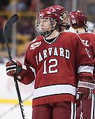 Colin Moore (Harvard - 12) - The Northeastern University Huskies defeated the Harvard University Crimson 4-0 in their Beanpot opener on Monday, February 7, 2011, at TD Garden in Boston, Massachusetts.