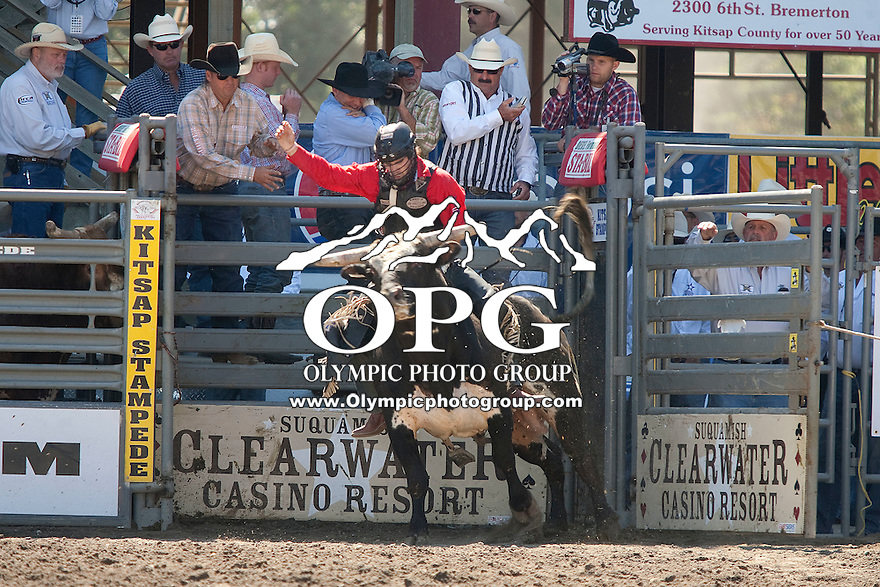 28 Aug 2011:  Clayton Savage scored a 70 while riding the bull Little Donk in the Seminole Hard Rock Extreme Bulls competition held at the Kitsap County Fair and Stampede Rodeo in Bremerton, Washington.