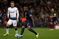 Steven Bergwijn of PSV Eindhoven and Christian Eriksen of Tottenham Hotspur during Tottenham Hotspur vs PSV Eindhoven, UEFA Champions League Football at Wembley Stadium on 6th November 2018
