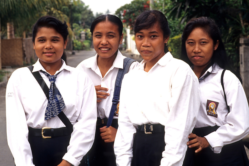 School children age 15 in uniform in Denpasar in Bali Indonesia