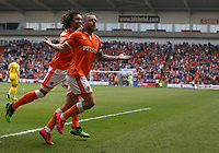 Blackpool's Jay Spearing celebrates scoring the opening goal<br /> <br /> Photographer Stephen White/CameraSport<br /> <br /> The EFL Sky Bet League One - Blackpool v Fleetwood Town - Monday 22nd April 2019 - Bloomfield Road - Blackpool<br /> <br /> World Copyright © 2019 CameraSport. All rights reserved. 43 Linden Ave. Countesthorpe. Leicester. England. LE8 5PG - Tel: +44 (0) 116 277 4147 - admin@camerasport.com - www.camerasport.com
