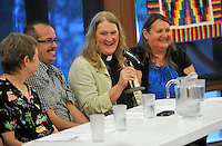 NWA Democrat-Gazette/MICHAEL WOODS --05/16/2015--w@NWAMICHAELW...  Members of the LGBT community (left to right) Cathy Campbell, President of NWA PFLAG, Raymond M. Sweet, Rev. Gwen Fry, Episcopal priest, and Stephanie Mott, founder and executive director of Kansas Statewide Transgender Education Project, answer questions during a discussion panel Saturday evening hosted by the Unitarian-Universalists in Fayetteville as they share their faith stories with the public.