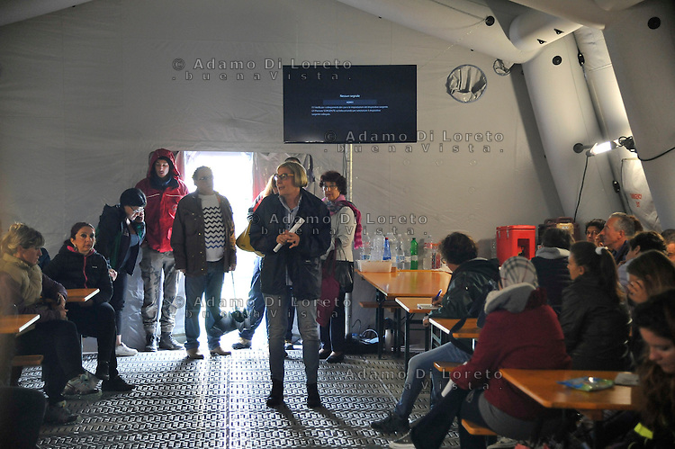 The Headmaster Maria Rita Pitoni during the meet with parents of pupils Amatrice for the next year school<br /> in the read cross camp, 7 September, 2016, Amatrice, Italy. Photo GF-ADL foto BuenaVista*photo