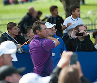 24.09.2014. Gleneagles, Auchterarder, Perthshire, Scotland.  The Ryder Cup.  Lee Westwood (EUR) on the 11th tee during his practice round.