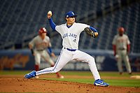 Dunedin Blue Jays relief pitcher Graham Spraker (18) during a Florida State League game against the Clearwater Threshers on April 4, 2019 at Spectrum Field in Clearwater, Florida.  Dunedin defeated Clearwater 11-1.  (Mike Janes/Four Seam Images)