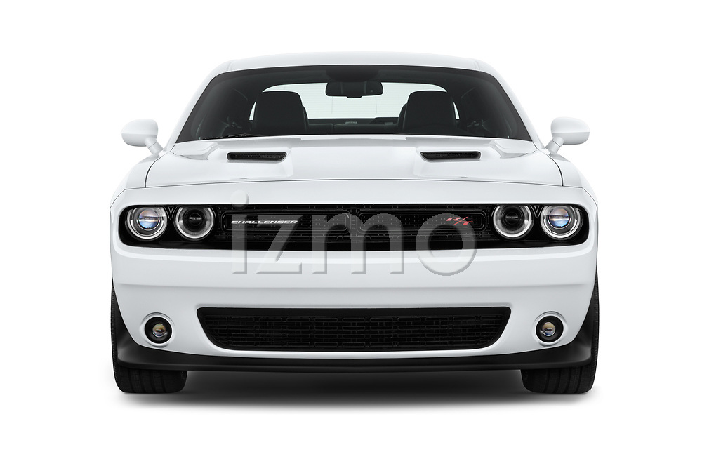 Car photography straight front view of a 2016 Dodge Challenger Scat-Pack 2 Door Coupe Front View