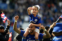 Leicester City's Danny Simpson and daughter waving to the fans <br /> <br /> Photographer Hannah Fountain/CameraSport<br /> <br /> The Premier League - Leicester City v Chelsea - Sunday 12th May 2019 - King Power Stadium - Leicester<br /> <br /> World Copyright &copy; 2019 CameraSport. All rights reserved. 43 Linden Ave. Countesthorpe. Leicester. England. LE8 5PG - Tel: +44 (0) 116 277 4147 - admin@camerasport.com - www.camerasport.com
