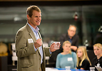 NWA Democrat-Gazette/JASON IVESTER<br /> Clayton Marsh, founding head of Thaden School, speaks with visitors Monday, April 17, 2017, during an information session on the school at Brightwater culinary school in Bentonville. The Thaden School, a private school backed by the Walton Family Foundation, plans to open in August to students in grades seven and nine with plans to grow over the next four years for students in grades six through 12.