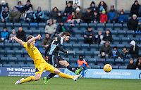 Max Kretzschmar of Wycombe Wanderers goes narrowly wide with his hot at goal during the Sky Bet League 2 match between Wycombe Wanderers and Bristol Rovers at Adams Park, High Wycombe, England on 27 February 2016. Photo by Andy Rowland.