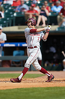 Steven Wells, Jr. (7) of the Florida State Seminoles follows through on his swing against the Louisville Cardinals in Game Eleven of the 2017 ACC Baseball Championship at Louisville Slugger Field on May 26, 2017 in Louisville, Kentucky. The Seminoles defeated the Cardinals 6-2. (Brian Westerholt/Four Seam Images)