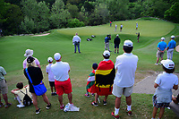 Jon Rahm (ESP) supporters watch him putt on 2 during round 6 of the World Golf Championships, Dell Technologies Match Play, Austin Country Club, Austin, Texas, USA. 3/26/2017.<br /> Picture: Golffile | Ken Murray<br /> <br /> <br /> All photo usage must carry mandatory copyright credit (&copy; Golffile | Ken Murray)