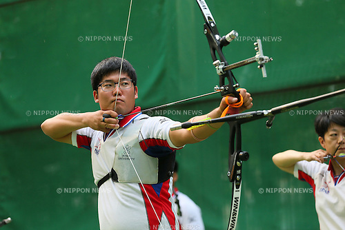 Takaharu Furukawa (JPN), <br /> JULY 18, 2015 - Archery : <br /> Japan National Team Training <br /> for The World Archery Championships 2015 <br /> at JISS Archery Field, Tokyo, Japan. <br /> (Photo by YUTAKA/AFLO SPORT)