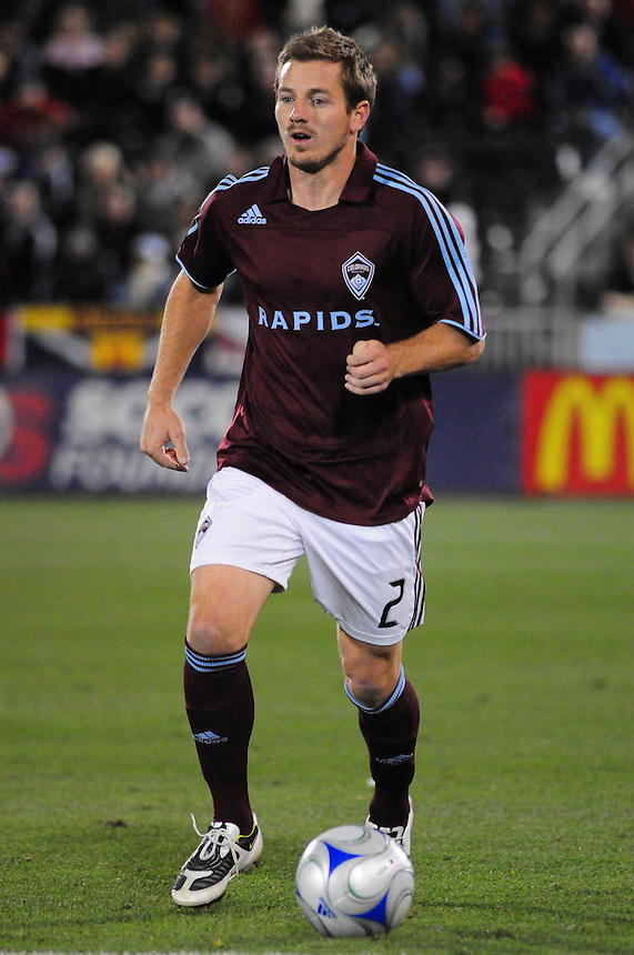 25 October 08: Rapids defender Jordan Harvey advances the ball against Real Salt Lake. Real Salt Lake tied the Colorado Rapids 1-1 at Dick's Sporting Goods Park in Commerce City, Colorado. The tie advanced Real Salt Lake to the playoffs.