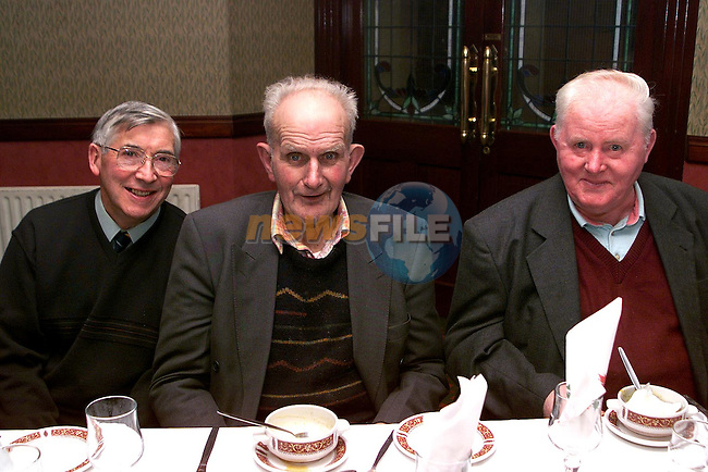 Tom McCormack, Stoney Lane, Frank Wrynne, Annaglog and JJ Clerkin, Ardee at the senior citizens party in the Traveller's Rest..Picture Paul Mohan Newsfile