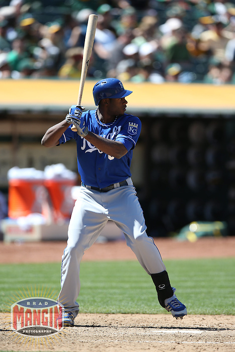 OAKLAND, CA - MAY 19:  Lorenzo Cain #6 of the Kansas City Royals bats during the game against the Oakland Athletics at O.co Coliseum on Sunday May 19, 2013 in Oakland, California. Photo by Brad Mangin