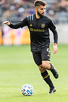 LOS ANGELES, CA - MARCH 01: Diego Rossi #9 of LAFC advances the ball in a match against Inter Miami CF during a game between Inter Miami CF and Los Angeles FC at Banc of California Stadium on March 01, 2020 in Los Angeles, California.