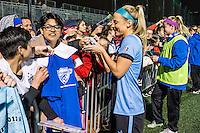 Allston, MA - Saturday, May 07, 2016: Chicago Red Stars defender Julie Johnston (8) signs autographs after a regular season National Women's Soccer League (NWSL) match at Jordan Field.