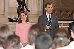 """King Felipe VI of Spain and Queen Letizia of Spain receive the """"BECAS EUROPA"""" participants from the FRANCISCO DE VITORIA University during an audience at Palacio Real in Madrid, Spain. July 17, 2013. (ALTERPHOTOS/Victor Blanco)"""