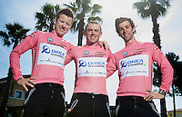 Team Orica-GreenEDGE succeeds in putting 3 consecutive Australian riders in the pink jersey in the first week of racing: Simon Gerrans (AUS/Orica-GreenEDGE), Michael Matthews (AUS/Orica-GreenEDGE) & Simon Clarke (AUS/Orica-GreenEDGE).<br /> A great achievement by the Australian Team.<br /> <br /> 2015 Giro