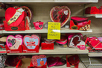 Valentine's Day love is sadly reduced 50 percent as inventory is unloaded in a store in New York on Thursday, February 19, 2015. (© Richard B. Levine)