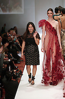 HOUSTON, TX - NOVEMBER 14 : Designer Chloe Dao on the runway during the Chloe Dao fashion show on day three of Fashion Houston Spring 2013 Presented By Audi at the Wortham Theatre Center on November 14, 2012 in Houston, Texas. (Photo by Louis Dollagaray/MediaPunch inc) /NortePhoto