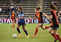 Kansas City, Kansas - Saturday April 16, 2016: FC Kansas City forward Frances Silva (11) moves the ball against Western New York Flash forward Kristen Hamilton (17) in the second half at Children's Mercy Park. Western New York won 1-0.