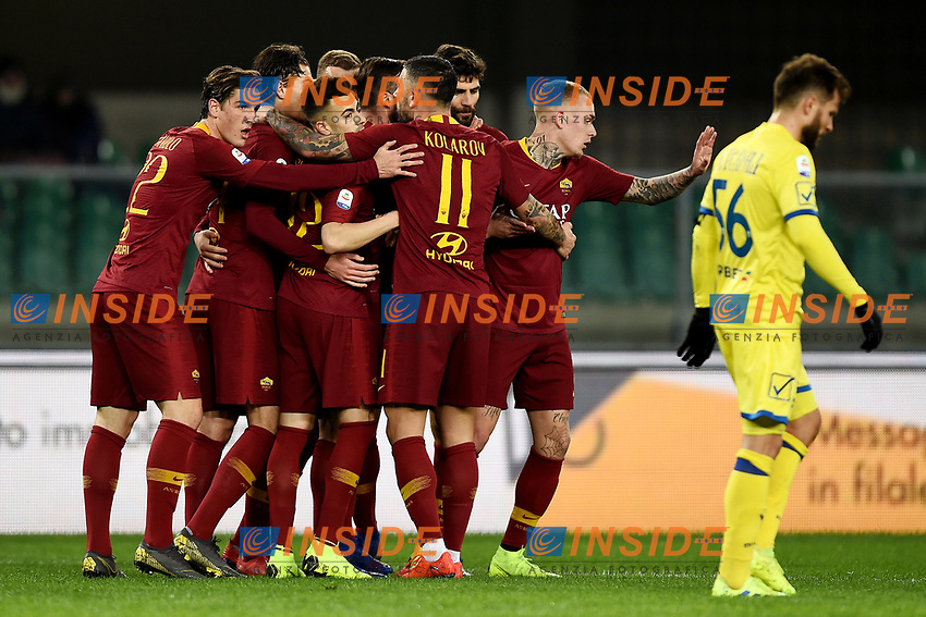 Edin Dzeko of AS Roma celebrates with team mates after scoring goal of 0-2 <br /> Verona 8-2-2019 Stadio Bentegodi Football Serie A 2018/2019 Chievo Verona - AS Roma <br /> Foto Image Sport / Insidefoto