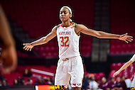 College Park, MD - NOV 16, 2016: Maryland Terrapins guard Shatori Walker-Kimbrough (32) gets back on defense during game between Maryland and Maryland Eastern Shore Lady Hawks at XFINITY Center in College Park, MD. The Terps defeated the Lady Hawks 106-61. (Photo by Phil Peters/Media Images International)