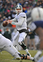 29 November 2014:  Michigan State QB Connor Cook (18) throws downfield. The Michigan State Spartans vs. the Penn State Nittany Lions at Beaver Stadium in State College, PA.