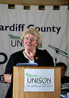 Public Sector Strike one day strike 10th July 2014. Speaker at the Temple of Peace, Cardiff