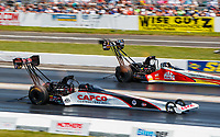 Jun 11, 2017; Englishtown , NJ, USA; NHRA top fuel driver Steve Torrence (near) races alongside Doug Kalitta during the Summernationals at Old Bridge Township Raceway Park. Mandatory Credit: Mark J. Rebilas-USA TODAY Sports
