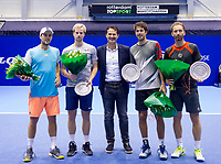 Rotterdam, Netherlands, December 15, 2017, Topsportcentrum, Ned. Loterij NK Tennis, Prizegiving Doubles: Runners up ltr: Boy Westerhof and Botic van de Zandschulp, Technical director of the KNLTB Jacco Eltingh and winners Robin Haase (NED) and Matwé Middelkoop (NED)<br /> Photo: Tennisimages/Henk Koster
