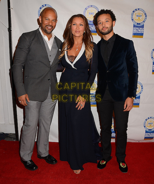 LOS ANGELES, CA., - NOVEMBER 11: Chris Williams, Vanessa Williams, Devin Christian Hervey at the NAACP Theatre Awards at the Saban Theater on November 11th, 2013 in Los Angeles, CA., USA.<br /> CAP/ADM/BT<br /> &copy;Birdie Thompson/AdMedia/Capital Pictures