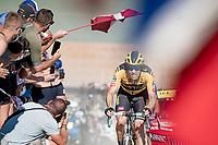 Tom Dumoulin (NED/Jumbo-Visma) at the gravel section atop the Montée du plateau des Glières (HC/1390m)<br /> <br /> Stage 18 from Méribel to La Roche-sur-Foron (175km)<br /> <br /> 107th Tour de France 2020 (2.UWT)<br /> (the 'postponed edition' held in september)<br /> <br /> ©kramon