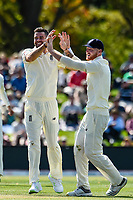 James Anderson and Ben Stokes of England celebrates the wicketof Kane Williamson of the Black Caps during Day 2 of the Second International Cricket Test match, New Zealand V England, Hagley Oval, Christchurch, New Zealand, 31th March 2018.Copyright photo: John Davidson / www.photosport.nz