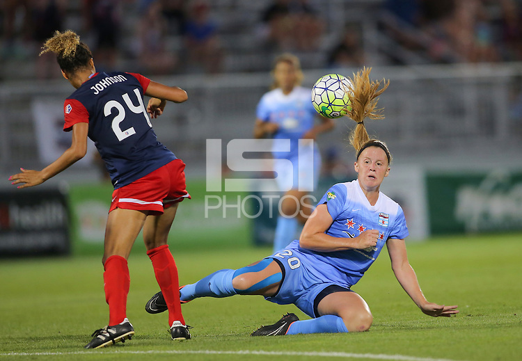 Boyds, MD - Saturday July 09, 2016: Jannelle Flaws, Estelle Johnson during a regular season National Women's Soccer League (NWSL) match between the Washington Spirit and the Chicago Red Stars at Maureen Hendricks Field, Maryland SoccerPlex.