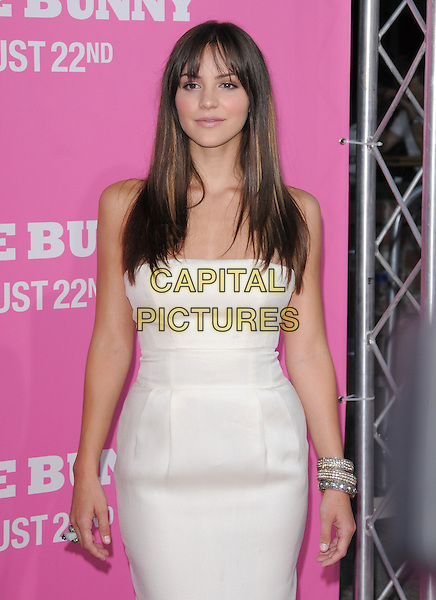 "KATHARINE McPHEE  .The Columbia Pictures' Premiere of ""House Bunny"" held at The Mann Village Theatre in Westwood, California, USA..August 20th, 2008.half length white strapless dress silver bracelets katherine catherine .CAP/DVS.©Debbie VanStory/Capital Pictures."