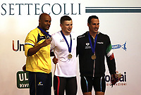 Swimming 55&deg; Settecolli trophy Foro Italico, Rome on June 30, June 2018.<br /> Men's 50 meters Breaststroke podium at the Settecolli swimming trophy: Adam Peaty (c), of Great Britain, goal medal, Joao Gomes Junior (l), of Brazil, silver medal, Fabio Scozzoli (r), of Italy, bronze medal. <br /> Rome, on June 30, 2018.<br /> UPDATE IMAGES PRESS/Isabella Bonotto