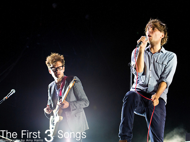 Laurent Brancowitz and Thomas Mars of Phoenix perform during the 2013 Budweiser Made in America Festival in Philadelphia, Pennsylvania.