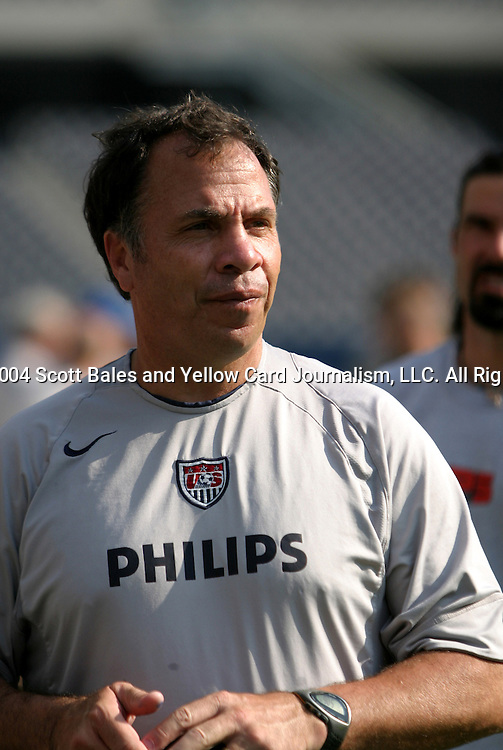 10 July 2004: U.S. head coach Bruce Arena. The United States Men's National Team practiced at Soldier Field in Chicago, IL the day before playing Poland in an international friendly soccer game..