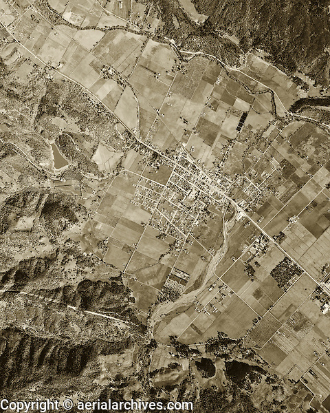 historical aerial photograph St. Helena, California, 1948