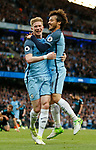Kevin De Bruyne of Manchester City celebrates his goal with David Silva of Manchester City during the English Premier League match at the Etihad Stadium, Manchester. Picture date: May 16th 2017. Pic credit should read: Simon Bellis/Sportimage