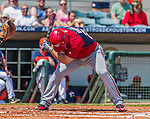20 March 2015: Washington Nationals infielder Dan Uggla ducks to avoid an inside pitch during Spring Training action against the Houston Astros at Osceola County Stadium in Kissimmee, Florida. The Nationals defeated the Astros 7-5 in Grapefruit League play. Mandatory Credit: Ed Wolfstein Photo *** RAW (NEF) Image File Available ***