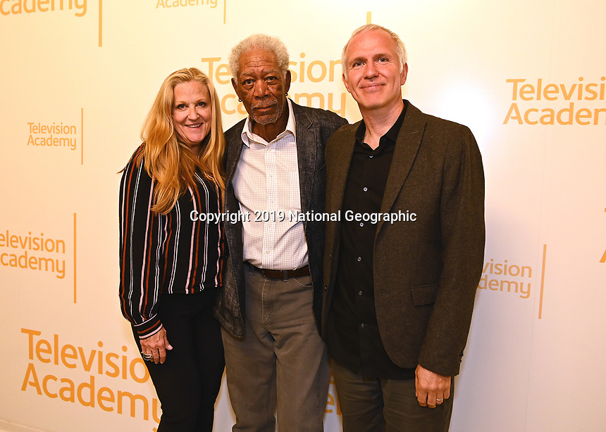 """LOS ANGELES - JUNE 5:  Lori McCreary, Morgan Freeman and James Younger attend an FYC event for National Geographic's """"The Story of God"""" at the TV Academy on June 5, 2019 in Los Angeles, California. (Photo by Scott Kirkland/National Geographic/PictureGroup)"""