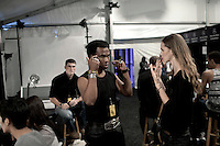 NEW YORK, SEPTEMBER 9 2012: South African designer David Tlale backstage before his show at Mercedes Benz New York fashion week at the Box, at Lincoln Center, New York. (Photo by: Per-Anders Pettersson)